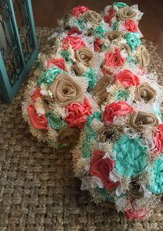 beautiful handmade coral silk mint silk and by BurlapandLacePlace