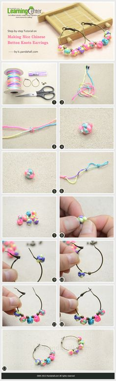 Step-by-step Tutorial on Making Nice Chinese Button Knots Earrings - DIY Crafts Macrame Jewelry, Fabric Jewelry, Jewelry Crafts, Handmade Jewelry, Micro Macramé, Earring Tutorial, Diy Tutorial, Bijoux Diy, Jewelry Making Tutorials