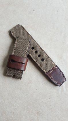 Handmade Green Canvas Leather Watch strap with buckle. Leather Watch Bands, Canvas Leather, Leather Working, Leather Craft, Bracelet Watch, Watch Straps, Watches, Handmade, 2 Months