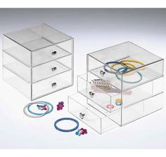 Keep all your cosmetics, jewelry and other small personal accessories stored and organized in simple style with a Three-Drawer Acrylic Storage Chest. These acrylic storage drawers are great vanity organizers that keep all your items conveniently on display and helps contain the common clutter on your vanity, dresser top or makeup table.