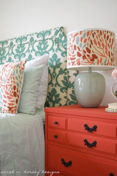 Love this color and design combo from sarah m. dorsey designs: DIY Belgrave Headboard with Ikat Fabric for the Guest Bedroom