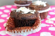 Clean Eating Chocolate Coconut Muffins -yummy! #chocolatemuffins #coocnutmuffins