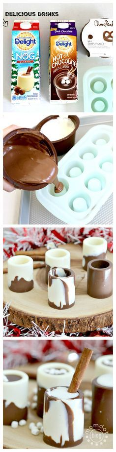 Chocolate Shot glasses with Egg Nog - Egg Nog and Chocolate Shooters, How to make Egg Nog Shot glasses like a boss !Egg Nog and Chocolate Shooters, How to make Egg Nog Shot glasses like a boss ! Chocolate Shot Glasses, Chocolate Shots, Chocolate Cups, Chocolate Molds, Fun Drinks, Yummy Drinks, Beverages, Dessert Cups, Dessert Recipes