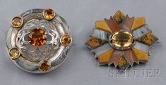 Two Victorian Silver, Scottish Agate, and Citrine Brooches, one circle brooch set with circular-cut citrines, with finely pierced center, and shaped gray agate border, the other with cushion-shape citrine in a fancy shape agate surround