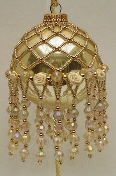 Beautiful gold and pearl Christmas ornament.