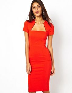 ASOS red pencil dress in bengaline with square neck