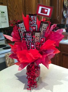 day diy gifts valentines day day pick up lines girl valentines day outfit valentines day to my love on valentines day history of valentines day day quotes love Candy Bar Bouquet, Gift Bouquet, Valentines Day Decorations, Valentines Diy, Pinterest Valentines, Movie Night Gift Basket, Valentine's Day Quotes, Candy Arrangements, Valentine Gift Baskets
