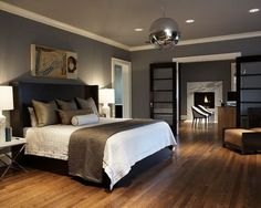 Contemporary Bedroom Design With Wooden Floor And Grey Bedroom Color Scheme  Ideas With Darkwood Headboard