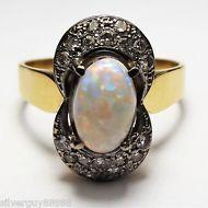 Handmade 18ct Yellow and White Gold Opal Diamond ring