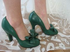 40's Vtg Green Leather Stylepride Heels Green Leather Double Bows Size 5 5 C | eBay