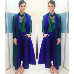 Kriti Sanon in Payal Khandwala. Celebrity fashion. Bollywood celebrity in Indian designer