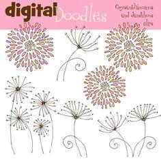 PInk Crysanthimums and dandilions digital clip art $3.65