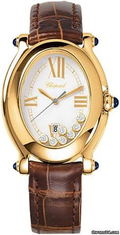 Chopard Happy Sport Oval  $11,595  yellow gold case with leather bracelet and quartz movement