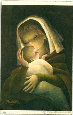 Mother and Child -Juan Ferrándiz - 1963 Mother And Child Images, Mother Mary Images, Mother Pictures, Children Images, Religious Images, Madonna And Child, Vintage Christmas Cards, Christmas Images, Illustration
