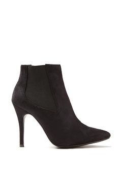 Blair pointed heeled boot, BLACK MICRO