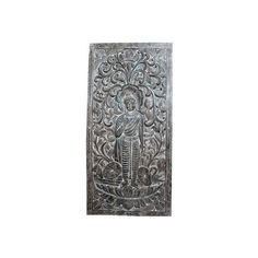 Mogul Interior Hand Carved Wood Buddha Floral Carving Door Wall Art -... ($895) ❤ liked on Polyvore featuring home, home decor, wall art, wooden wall art, wooden buddha wall art, buddha wall art, door wall art and hand carved wall art
