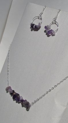 Amethyst Sterling Silver Swing Bar Necklace and by simplybecoming $45