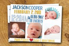 Baby BOY ANNOUNCEMENT Baby Greeting Blue & Yellow Photo Custom 5x7 4x6 on Etsy, $15.99