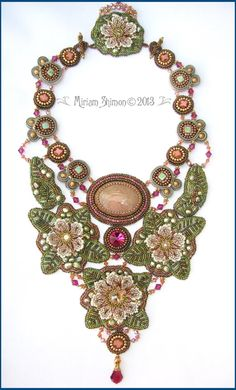Eden bead embroidery necklace with pink roses and by MiriamShimon, $750.00