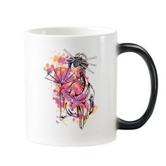 Traditional Japanese Culture Point Color Geisha Art Illustration Pattern Morphing Heat Sensitive Changing Color Mug Cup Milk Coffee With Handles 350 ml #Mug #TraditionalJapaneseCulture #Cup #PointColor #ChangingColorMug #Geisha #Beermug #Art #Coffeemug #Coffeecup #Caneca #Teacup #Milkcup #CeramicMug #BirthdayGift