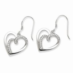 NEW-SENTIMENTAL-EXPRESSIONS-STERLING-SILVER-CZ-TWO-SOULS-LIVED-AS-ONE-EARRINGS