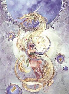 Taniwha ki te rangi - Sky dragons guardians of Ranginui and Tawhirimatea, sky, air and wind realm. Dragon - Stephanie Pui-Mun Law