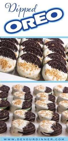 This quick and easy dessert will treat your tastebuds. So fun to make with White Chocolate and Oreo's.  Enjoy this fun easy treat all year long!  #Oreo #Whitechocolate #Recipe #recipes #food #Foodie #foodblogger #Buzzfeast #Dessert #dessertrecipes #devourdinner #treat #cookie #yummy #dippedoreo #dippedcookie