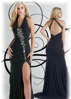 A-line Halter Neckline Pleated Bodice Beaded Satin Prom Dress-sop0030, $236.95