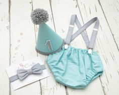 Aqua and Grey Baby Boys First Birthday Cake Smash Party outfit | Outfits & Sets | Boys' Clothing (0-24 Months) - Zeppy.io