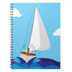 An interesting notebook cover design.  Block colour shapes which make up an interesting boat!