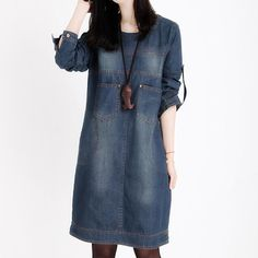 Plus Size Women Clothing 2018 New Spring Jeans Shirt Dress Woman Autumn Vintage Long Sleeve Denim Dresses For Women Vestidos