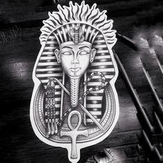 Cool Arm Tattoos, Chest Piece Tattoos, Hand Tattoos For Guys, Leg Tattoo Men, Sleeve Tattoos, New Tattoo Designs, Tattoo Design Drawings, Pharoah Tattoo, King Tut Tattoo