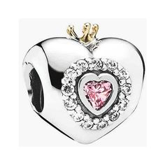 PANDORA 'Princess Heart' Bead Charm ($90) ❤ liked on Polyvore featuring jewelry, pendants, pandora, glitter jewelry, charm pendant, crown jewelry, beading charms and crown charm