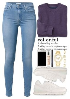 """""""August 17, 2015"""" by inescans ❤ liked on Polyvore featuring 7 For All Mankind, New Balance, Samsung, Lancôme, Urban Decay, Michael Kors and Charlotte Russe"""