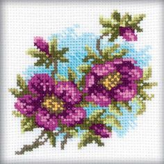 RTO-Cross Stitch Kit. This kit will allow you to create a beautiful flower design that will make a great decoration for any room of the house once you have completed it. This package contains cotton f