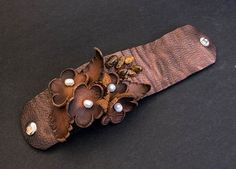 40% OFF SALE 40 Percent OFF Sale Elegant rustic Leather flower