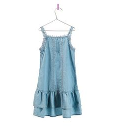 Image 2 of DENIM DRESS WITH RUFFLE HEM from Zara