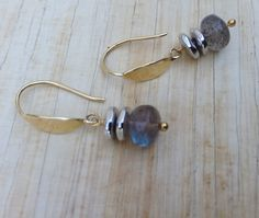 Labradorite Beads Silver Discs Brass by NakedPlanetJewelry on Etsy, $32.00