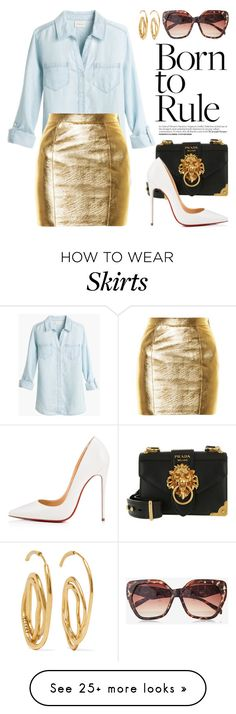 """""""Dress Me Up in a Gold Colored Skirt! 4331"""" by boxthoughts on Polyvore featuring Yves Saint Laurent, Prada, Christian Louboutin, E L L E R Y and Express"""