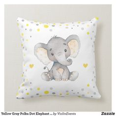 Shop Yellow Gray Polka Dot Elephant Baby Shower Nursery Throw Pillow created by ViolinEvents. Elephant Themed Nursery, Elephant Baby, Elephant Room, Elephant Birthday, Baby Elephants, Kids Pillows, Throw Pillows, Grey Pillows, Accent Pillows