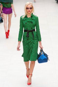 Burberry Prorsum Groene Jurk, Groene Kant, Groene Jas, Londen Mode, Haute  Couture 458521f7ece