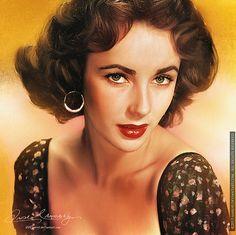 """Elizabeth Taylor"" - Amro Ashry (Amro0), illustrator {figurative realism art beautiful brunette female head décolletage celebrity woman face portrait digital painting #loveart} amro0.deviantart.com"