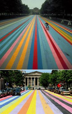 Franklin's Footpath - created by painting stripes on the street in front of the Philadelphia Museum of Art.