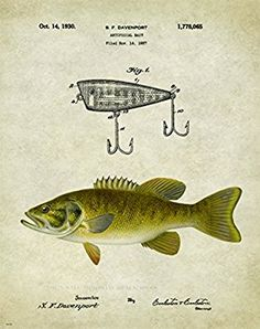Smallmouth Bass Fishing Michigan State Map Art Print Cabin Decor Vintage Lures