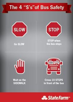 Now that it's back-to-school time, make sure you & your kids are following the 4 S's of School Bus Safety: http://learningcenter.statefarm.com/auto/safety/school-bus-safety/