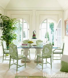Green and White Decorating Ideas - Maisonette House Design - House Beautiful