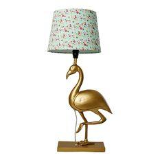 Tischlampe Lampenfuß Flamingo Metall in Gold von rice