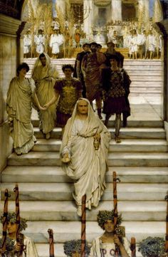 The Triumph of Titus: The Flavians by Sir Lawrence Alma-Tadema. This painting depicts Titus returning to Rome in triumph following his capture of Jerusalem in 70 C.E. His father, Emperor Vespasian, clad in a white toga, leads the procession. Titus comes next, holding the hand of his daughter, Julia, who looks to her uncle Domitian, who succeeded Titus. In the background is the Temple of Jupiter. The menorah from the great temple is seen behind them.