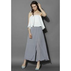 Chicwish Flap the Beauty Pleats Culottes in Grey