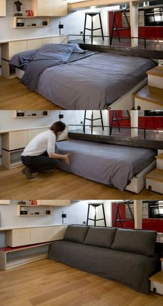 Roll out bed from under the raised floor. Old Bathroom Transformed into 16 sqm Studio Apartment